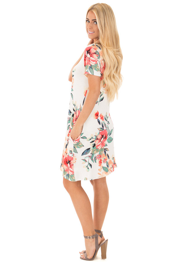 Ivory Watercolor Floral Print Swing Dress with Side Pockets side full body