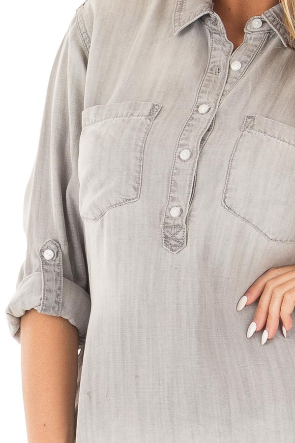 Cloud Grey Denim Roll Up Sleeve Button Up Top detail