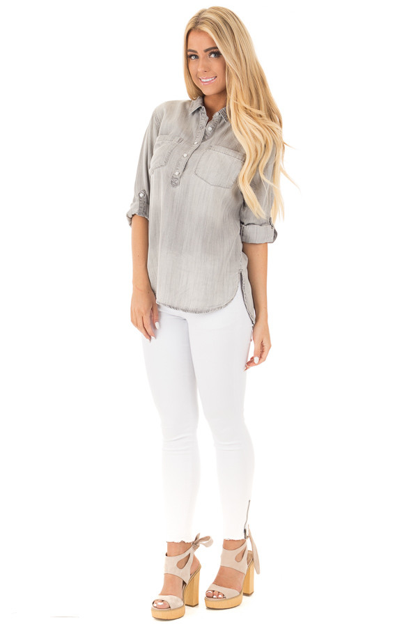 Cloud Grey Denim Roll Up Sleeve Button Up Top front full body
