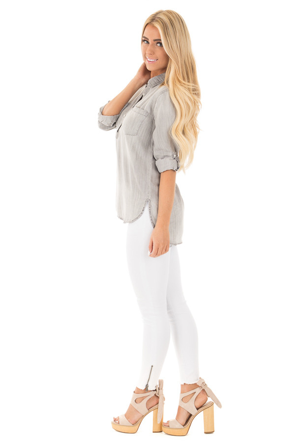 Cloud Grey Denim Roll Up Sleeve Button Up Top side full body