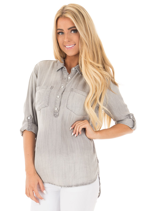 Cloud Grey Denim Roll Up Sleeve Button Up Top front close up