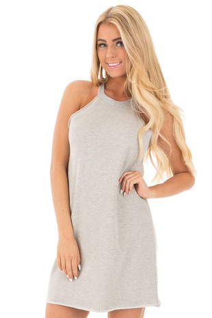 Cement Grey Cut Off Tank Top Dress front close up