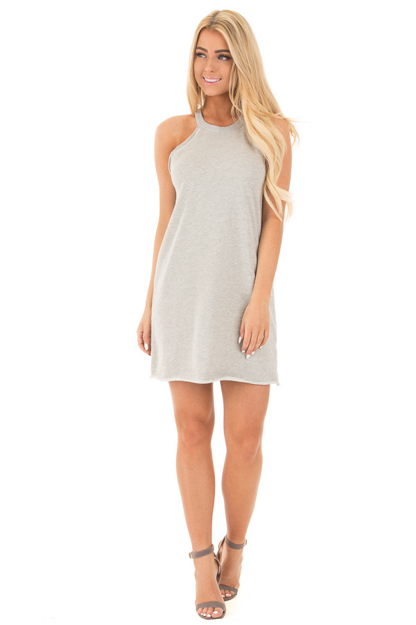 Cement Grey Cut Off Tank Top Dress front full body