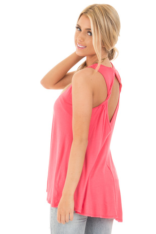 Coral Hi Low Tank Tunic Dress with Twisted Open Back back side close up