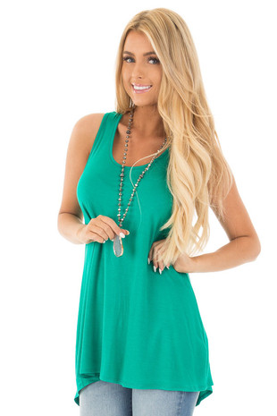 Teal Hi Low Tank Tunic Dress with Twisted Open Back front close up