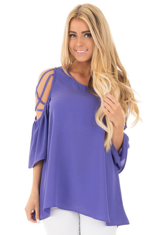 Blue Violet Cold Shoulder Blouse with Strap Details front close up