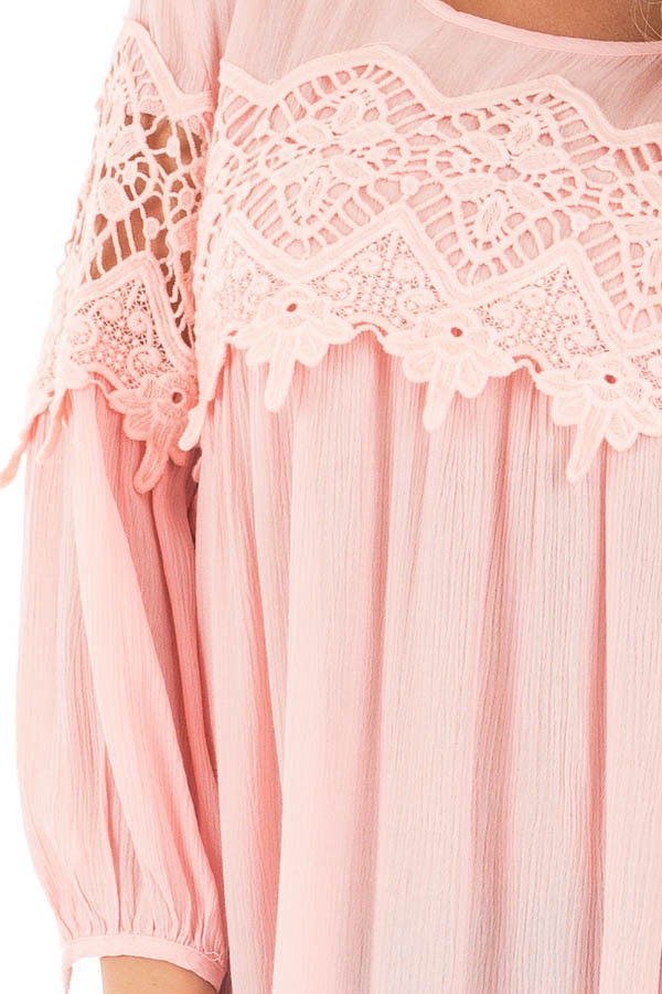 Light Rose Baby Doll Top with Crochet Details detail