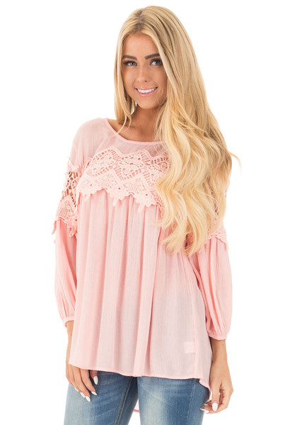 Light Rose Baby Doll Top with Crochet Details front close up