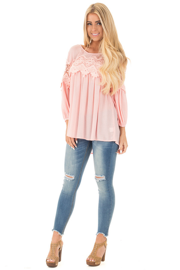 Light Rose Baby Doll Top with Crochet Details front full body