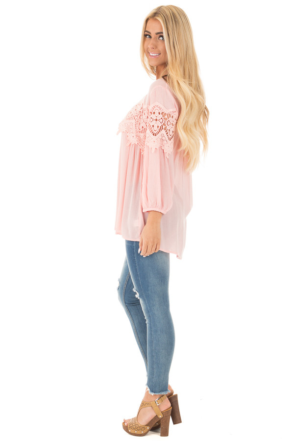 Light Rose Baby Doll Top with Crochet Details side full body