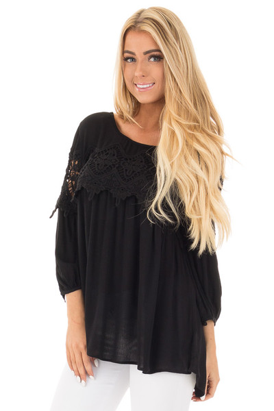 Black Baby Doll Top with Crochet Details front close up