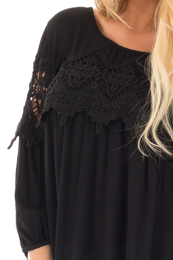 Black Baby Doll Top with Crochet Details detail