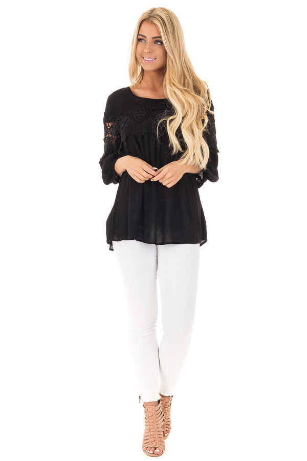 Black Baby Doll Top with Crochet Details front full body