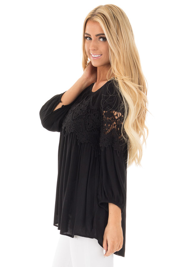Black Baby Doll Top with Crochet Details side close up