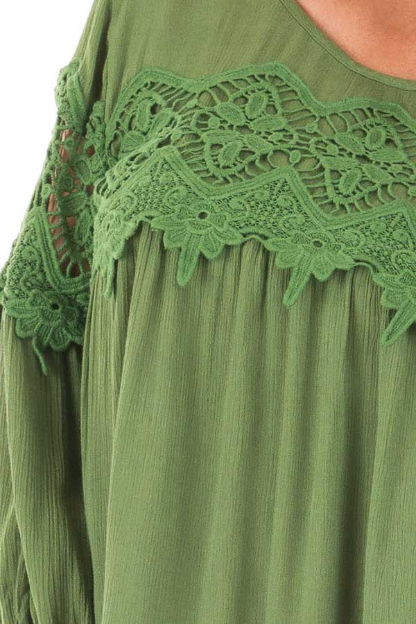 Forest Green Baby Doll Top with Crochet Details detail