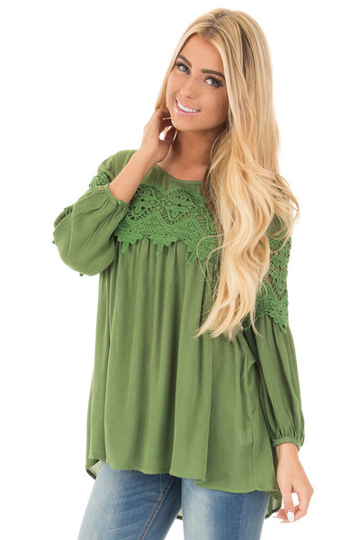 Forest Green Baby Doll Top with Crochet Details front close up