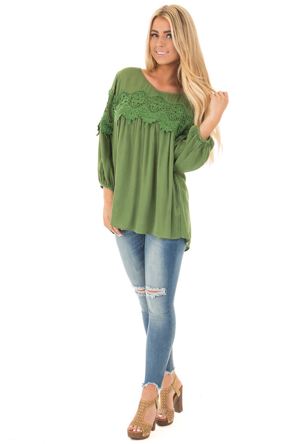 Forest Green Baby Doll Top with Crochet Details front full body