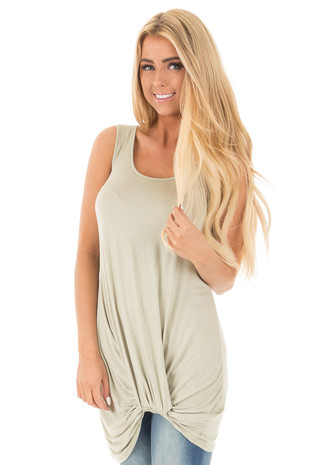 Sage Twist Knot Tunic Tank front close up