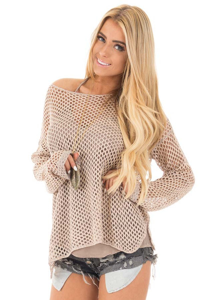 Dusty Blush Loose Net Crochet Sweater Top front close up
