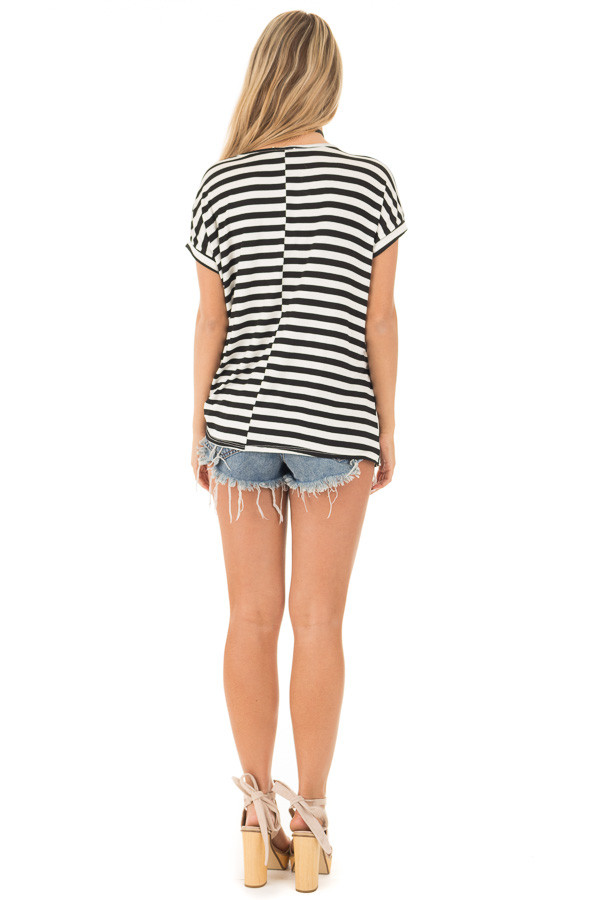 Black and White Striped Draped Top with Gathered Detail back full body