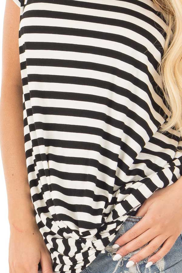 Black and White Striped Draped Top with Gathered Detail detail