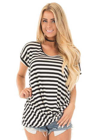Black and White Striped Draped Top with Gathered Detail front close up