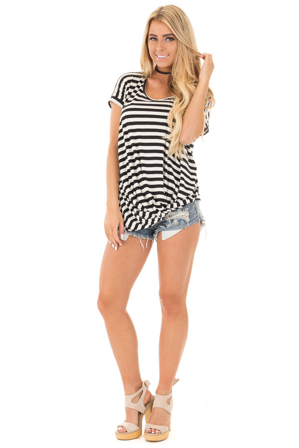 Black and White Striped Draped Top with Gathered Detail front full body