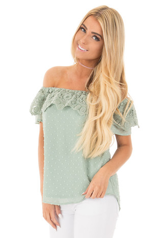 Dusty Green Lace Detailed Off the Shoulder Top front close up