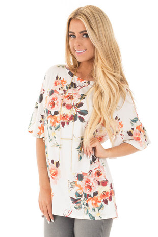 Ivory Multi Floral Butterfly Sleeve Tunic Top front close up