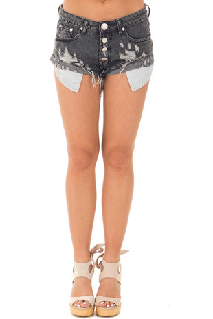 Black Distressed Denim Button Up Shorts with Frayed Hem front view