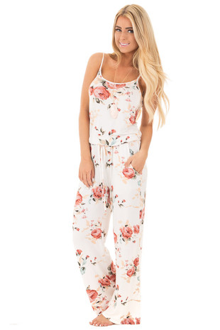 Ivory Sleeveless Loose Fit Jumpsuit with Blush Floral Print front full body