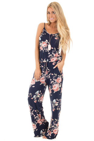 Navy Sleeveless Loose Fit Jumpsuit with Blush Floral Print front full body