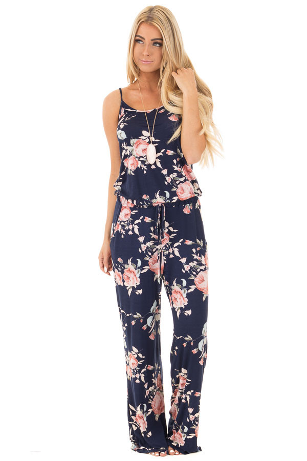 Navy Sleeveless Loose Fit Jumpsuit With Blush Floral Print