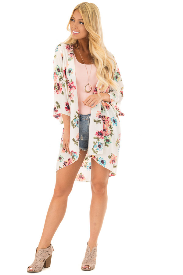 Ivory and Blush Large Floral Print Long Kimono front full body
