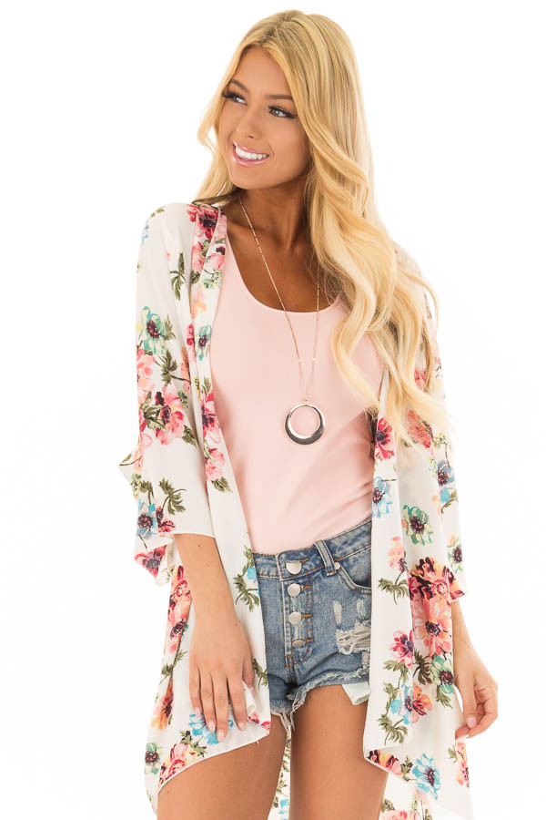 Ivory and Blush Large Floral Print Long Kimono front close up