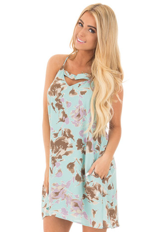 Mint and Lavender Floral Dress with Keyhole Front Detail front close up
