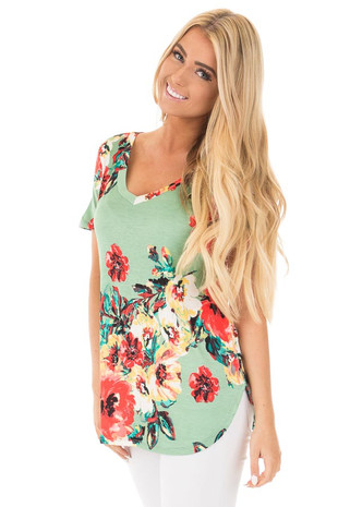 Sage and Coral Floral Print Comfy V Neck Tee front close up