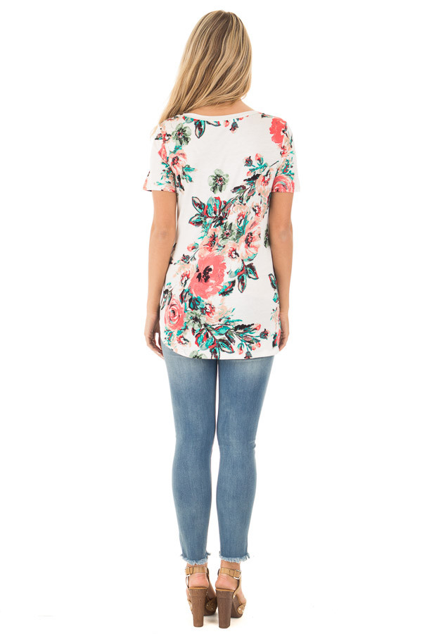 White and Coral Floral Print Comfy V Neck Tee back full body