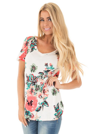 White and Coral Floral Print Comfy V Neck Tee front close up