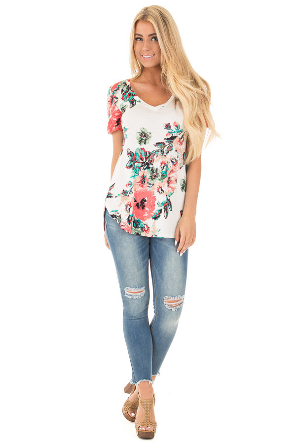 White and Coral Floral Print Comfy V Neck Tee front full body