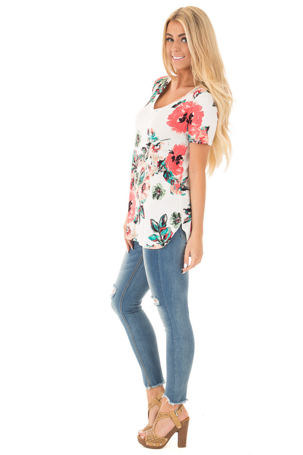 White and Coral Floral Print Comfy V Neck Tee side full body