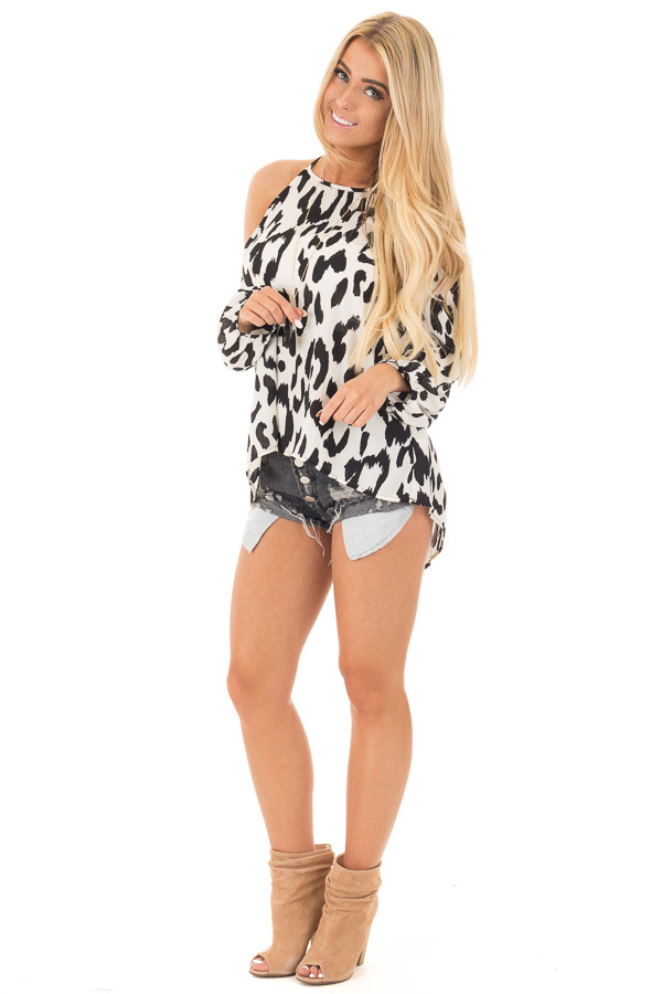 Black and White Leopard Print Cold Shoulder Top front full body
