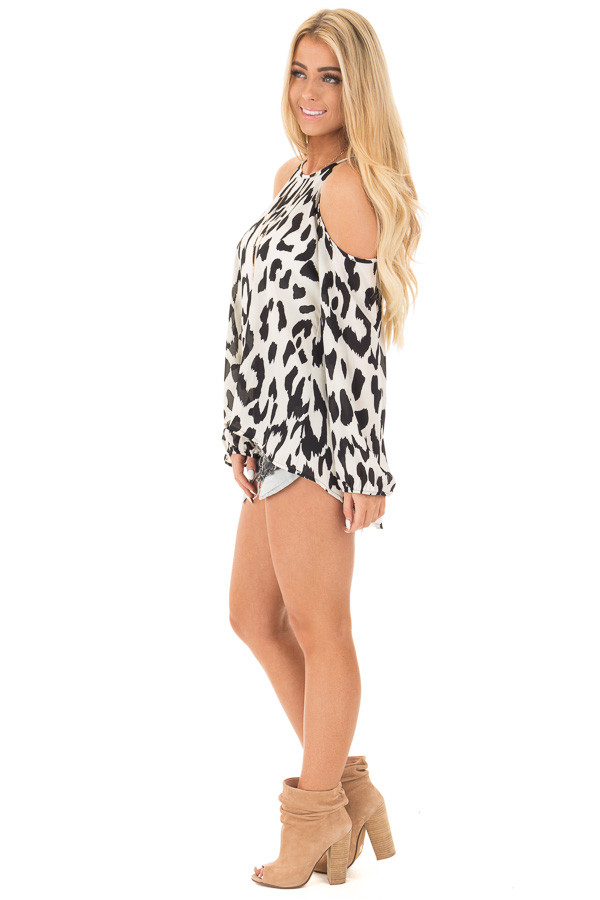 Black and White Leopard Print Cold Shoulder Top side full body