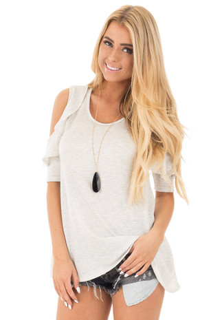 Heather Grey 3/4 Ruffle Sleeve Cold Shoulder Top front close up