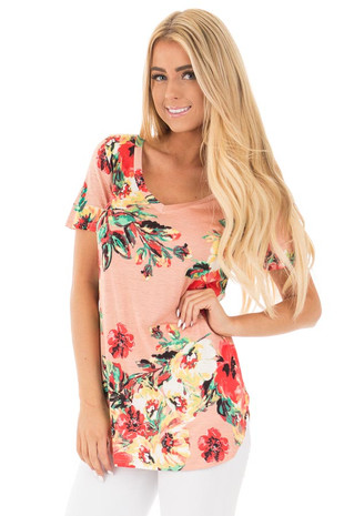 Peach and Coral Floral Print Comfy V Neck Tee front close up