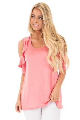 Coral 3/4 Ruffle Sleeve Cold Shoulder Top front close up