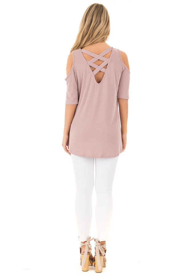 Mauve Reversible Cold Shoulder Cap Sleeve Top with Criss Cross back full body