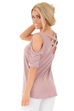 Mauve Reversible Cold Shoulder Cap Sleeve Top with Criss Cross back side close up