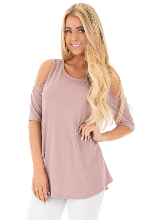 Mauve Reversible Cold Shoulder Cap Sleeve Top with Criss Cross front close up