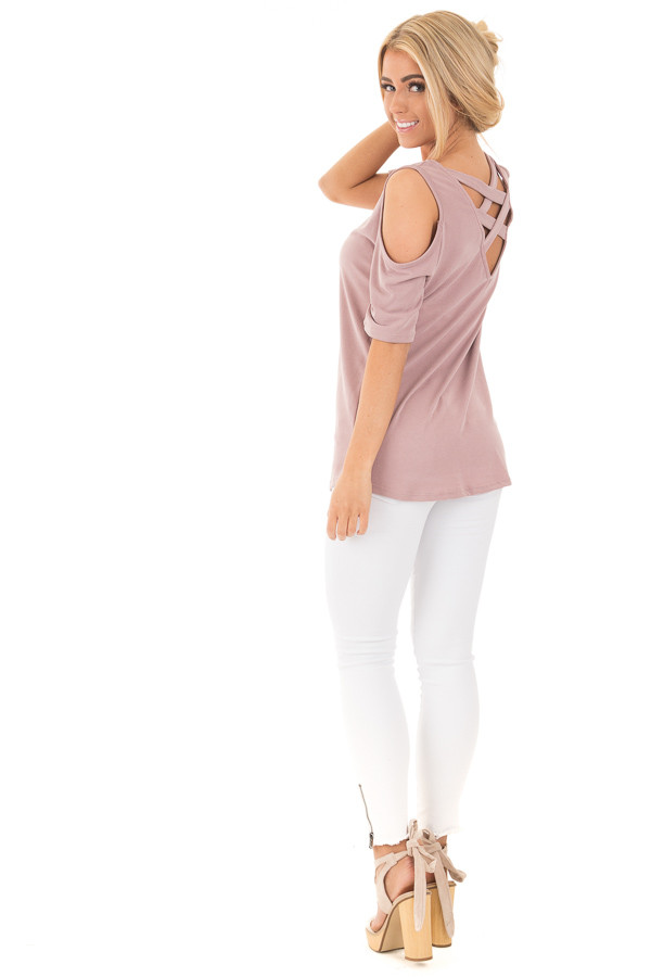 Mauve Reversible Cold Shoulder Cap Sleeve Top with Criss Cross back side full body